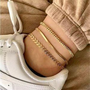 """""""Lucinda"""" Gold Link/Snake Chain Anklets/Bracelets"""